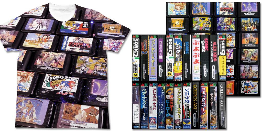 [予約開始]『メガドライブ』1988年にセガから発売されたゲーム機『メガドライブ』のカートリッジを全面にプリントしたTシャツ、クッションカバーが登場!