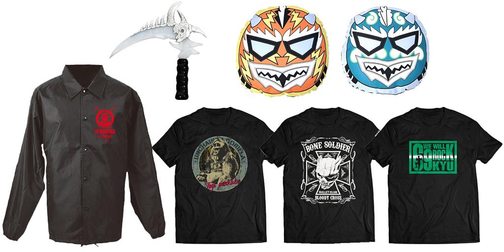 [販売開始]『新日本プロレスリング』Tシャツ3種、シックルペンライト、NJPWクッション2種、コーチジャケットが登場![新日本プロレス]