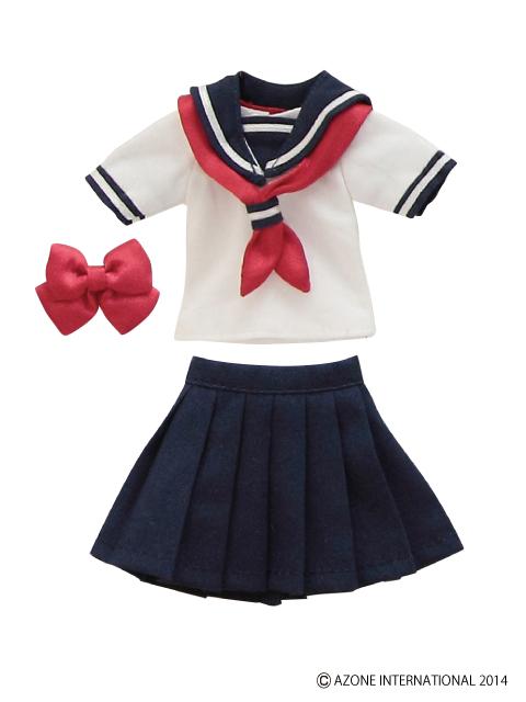 AZONE/Pureneemo Original Costume/POC307【1/6サイズドール用】PNS半袖セーラー服リボン&タイset