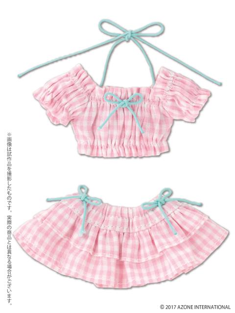 AZONE/Pureneemo Original Costume/POC399【1/6サイズドール用】PNSギンガムチェックパフスリーブビキニセット