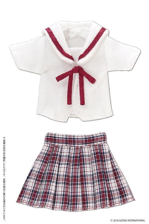 AZONE/ピコニーモコスチューム/PIC209【1/12サイズドール用】1/12 白襟チェックセーラー服セット