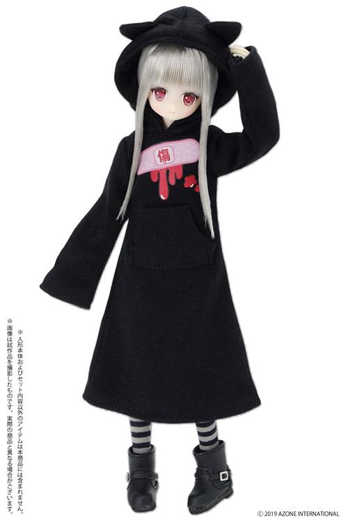 AZONE/Pureneemo Original Costume/POC488【1/6サイズドール用】PNS 病みかわ*ねこみみフードワンピース