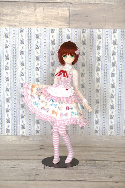 メーカーオリジナル/Little World × DollHearts/DH/OB50-07【45~50cmドール用】ピンクチェックメイドセット